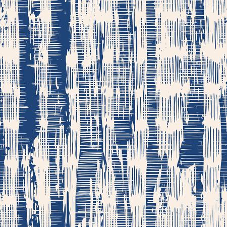 Nahtloses Muster der Indigovektor-Bindungsfärbung. Abstraktes Aquarell. Natürliche Fliesen. Organische Textur. Aquarell-Druck. Japan-Volksmuster. Bio-Textil. Japanische nahtlose natürliche Beschaffenheit. Indigo Batik.