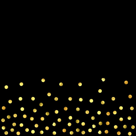 Golden confetti isolated on black background. Scatter gradient with gold confetti on dark backdrop. Glamour falling glitter. New year wallpaper. Luxury vector brochure template. Cover texture design.  イラスト・ベクター素材