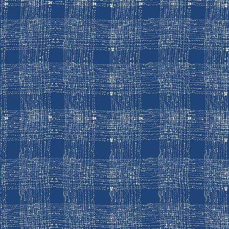 Tie dye indigo seamless pattern. Vector japanese shibori print. Geometric ikat endless tile. Organic texture. Japan endless rapport.  Vector hand drawn tie dye oriental seamless pattern.