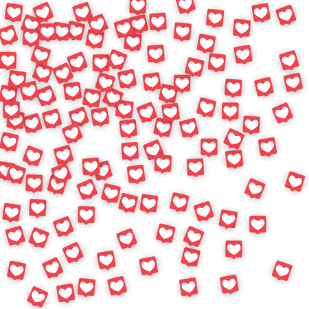 Social Media Icons. Network Notifications with White Heart in Pink Square. Ilustrace