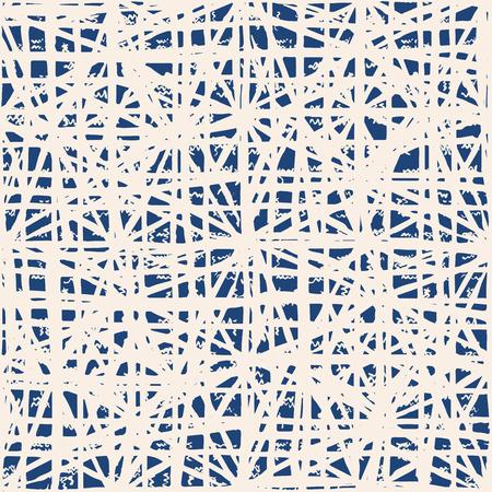 Endless watercolor texture vector. Indigo tie dye seamless pattern. Natural tiles. Japan cotton background. Batik bed vector texture. China hand dyeing white cotton background. Hippie fabric with grid. Illusztráció