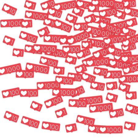 Social media counters. Like background. Social network icons. SMM, digital marketing, advertising, app, seo, web background with falling like counters. Isolated on white backdrop. Web addiction. Illustration