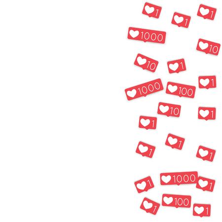 Social media counters. Like background. Social network icons. SMM, digital marketing, advertising, app, seo, web background with falling like counters. Isolated on white backdrop. Web addiction. Vettoriali