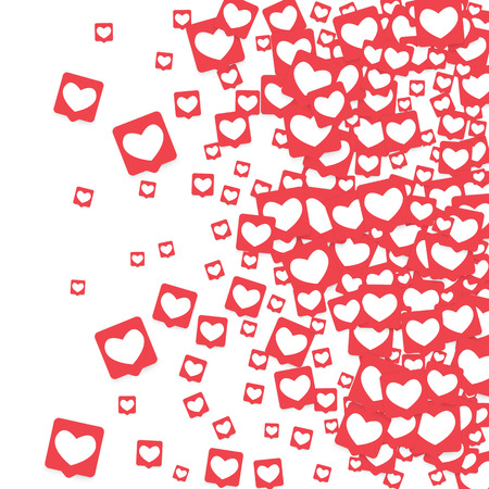 Social Media Icons. Network Notifications with White Heart in Pink Square. Follow and Share Social Media Icons Background for App, Application, Marketing, Smm, Ceo, Web, Internet, Analytics, Business. Vettoriali