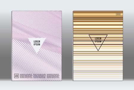 Minimal placard. Vector geometric cover. Hipster trendy report template. Set of futuristic line gradient graphic design flyers. Fashion minimal layouts. Striped placards. Retro banner design set.