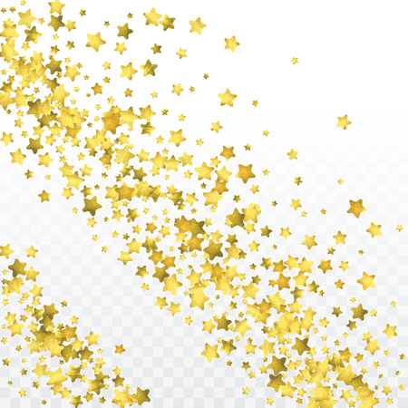 Star gold confetti. Celebrate background. Golden sparkles and dots on transparent backdrop. Christmas party invitation card template. Falling gold confetti. Glitter background. Ilustração