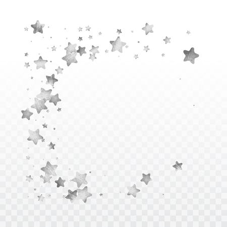 Star silver confetti. Glitter vector celebrate background. Silver sparkles and dots on black backdrop. Ilustrace