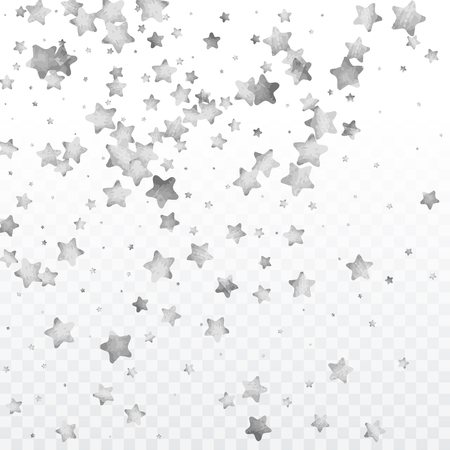Star silver confetti. Glitter vector celebrate background. Silver sparkles and dots on black backdrop. Christmas party invitation card template. Falling stars. Glitter background.