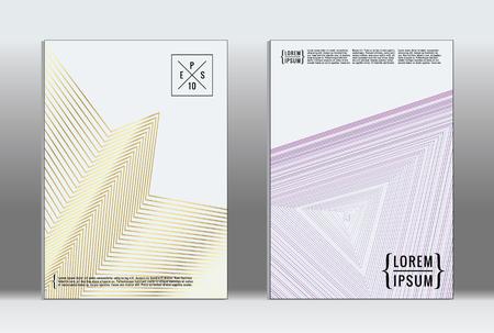 Placard vector geometric cover hipster trendy report template. Set of futuristic line gradient graphic design flyers. Fashion minimal layouts striped placards retro banner design set. Archivio Fotografico - 98983524