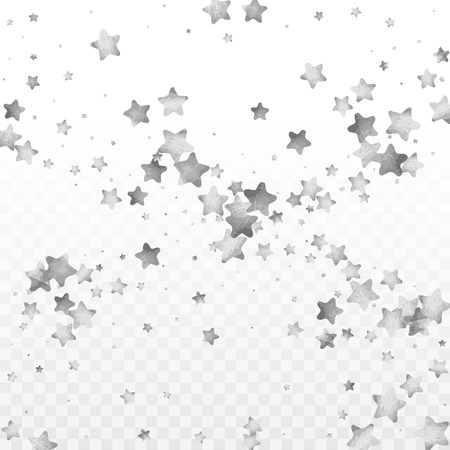 Star silver confetti. Celebrate background. Silver sparkles and dots on black backdrop. Christmas party invitation card template. Falling stars. Glitter background.