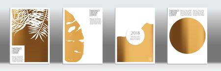 Golden cover set. Tropical flyer on light background.  Liquid design. Brochure foil design. Gold backdrop. Stylish vector cover design.  Abstract gradient vintage texture.
