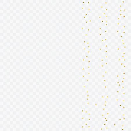 Foil gold confetti. Celebrate background. Watercolor golden sparkles and dots. Voucher backdrop. Luxury invitation card template. Falling gold confetti. Glitter background.  Illustration