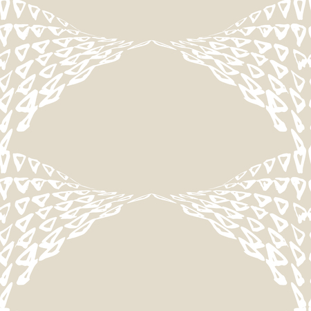 Triangle pattern. Ivory white geometry background. Halftone hister texture. Geometric graphic design. Hand drawn ink print. Monochrome minimal triangle seamless pattern. Wrapping print.