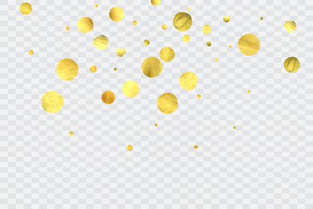 Foil gold confetti. Glow vector celebrate background. Watercolor golden sparkles and dots. Voucher backdrop. Luxury invitation card template. Falling gold confetti. Glitter background. Illustration
