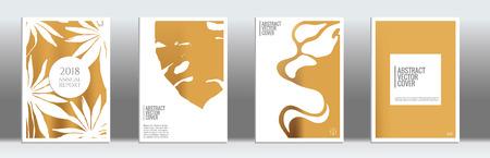 Golden cover set. Tropical flyer on light background.  Fluid poster design.  Brochure template design. Gold backdrop. Stylish vector cover design.  Abstract gradient vintage texture.