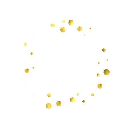 Foil gold confetti. Glitter vector celebrate background. Watercolor golden sparkles and dots. Voucher backdrop. Luxury invitation card template. Falling gold confetti. Glitter background.