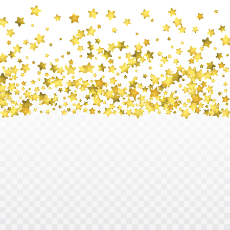 Round gold confetti. Glow vector celebrate background. Golden sparkles and dots on transparent backdrop. Christmas party invitation card template. Falling gold confetti. Glitter background.