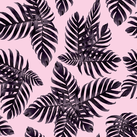 Palm Monstera Seamless Pattern. Ultraviolet Tropical Summer Background. Beach Jungle Leaves for Swimwear Design. Lei Rapport. Retro Hawaiian Print. Tropic Textile Texture.  Botanic tiling. Illustration