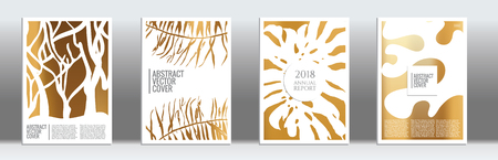 Golden cover set. Tropical flyer on light background.  Fluid poster design.  Brochure foil design. Luxury backdrop. Stylish vector cover design.  Abstract gradient retro texture.
