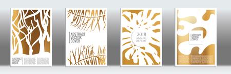 Golden cover set. Tropical flyer on light background. Fluid poster design. Brochure foil design. Luxury backdrop. Stylish vector cover design. Abstract gradient retro texture.