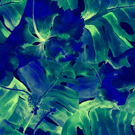 Blue green exotic pattern. Monstera and hibiscus flowers tropical bouquet. Saturated large floral swimwear print. Horizontal romantic wild vector exotic tile. Hypernatural botanic design. Stock Photo