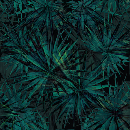 Palm Monstera Seamless Pattern. Black Green Tropical Summer Background. Beach Jungle Leaves for Swimwear Design. Lei Rapport. Vintage Hawaiian Print. Exotic Texture. Botanic tile. Illustration