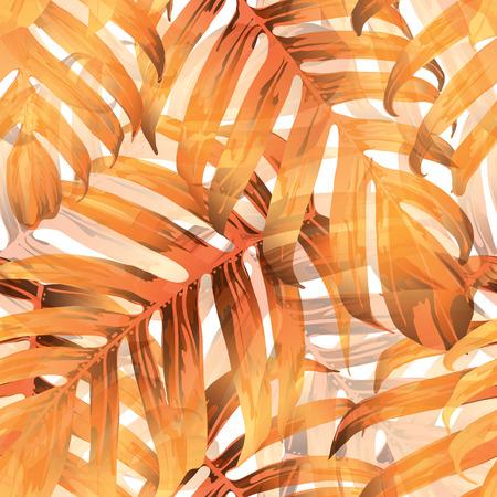 Palm Monstera Seamless Pattern. Orange White Tropical Summer Background. Beach Jungle Leaves for Swimwear Design. Lei Rapport. Vintage Hawaiian Print. Exotic Texture. Botanic tile. 스톡 콘텐츠 - 103866709