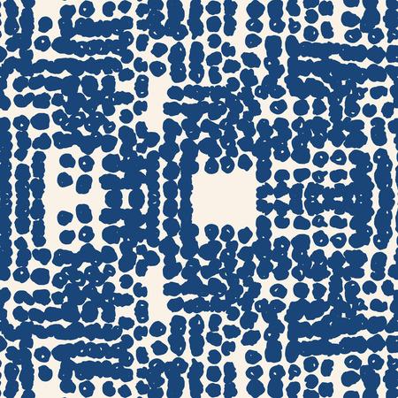 Beige white dot pattern. Vector shibori spotty seamless print. Organic hipster watercolor background. Tie dye tile. Geometric japanese pattern. Hand drawn random linear design. Kimono watercolour 矢量图像