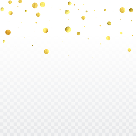 Round gold confetti. Celebrate background. Golden sparkles and dots on transparent backdrop. Luxury invitation card template. Falling gold confetti. Glitter background.