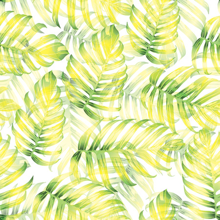 Palm Monstera Exotic Seamless Pattern. Green White Tropical Summer Background. Beach Jungle Leaves for Swimwear Design. Lei Rapport. Retro Hawaiian Print. Tropic Textile Texture.  Botanic tile.