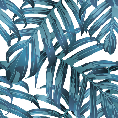 Palm Monstera Seamless Pattern. Indigo Tropical Summer Background. Beach Jungle Leaves for Swimwear Design. Lei Rapport. Vintage Hawaiian Print. Exotic Texture. Botanic tile.