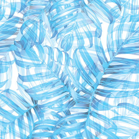 Palm Monstera Seamless Pattern. Blue White Tropical Summer Background. Beach Jungle Leaves for Swimwear Design. Lei Rapport. Retro Hawaiian Print. Tropic Textile Texture.  Botanic tile. 矢量图像