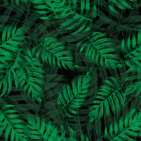Palm Monstera Seamless Pattern. Black Green Tropical Summer Background. Beach Jungle Leaves for Swimwear Design. Lei Rapport. Retro Hawaiian Print. Tropic Textile Texture.  Botanic tile.