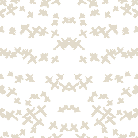 Cross pattern. White ivory geometric seamless texture. Hipster fashion design print. Mimimalistic graphic repeating tile. Ink hand drawn geometry background. Stylish abstract linear ornament. Standard-Bild - 104596079
