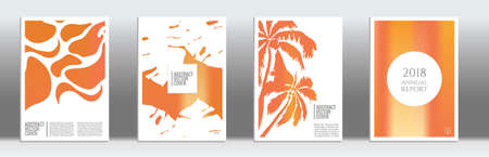 Golden cover set. Tropical flyer on light background.  Fluid poster design.  Brochure foil design. Luxury backdrop. Stylish vector cover design.  Abstract gradient vintage texture.