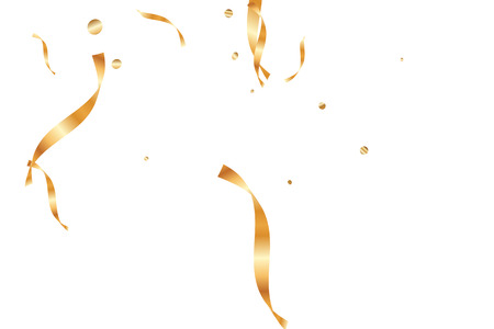 Gold confetti, ribbons. Falling glitter. Bokeh background. Abstract golden anniversary invitation template. Wedding concept card. Flying abstract particles. Explosion celebrate card.