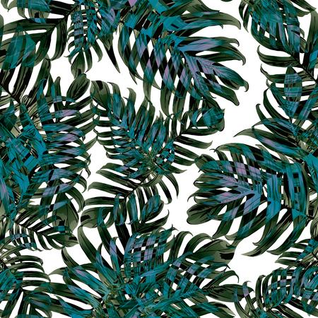 Palm Monstera Seamless Pattern. White Green Tropical Summer Background. Beach Jungle Leaves for Swimwear Design. Lei Rapport. Vintage Hawaiian Print. Tropic Textile Texture.  Botanic tile.