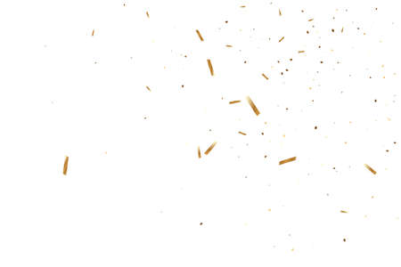 Vector golden confetti on transparent background. Falling tinsel and confetti from minimalistic geometrical triangles and ribbons. Flat glitter. Abstract festive decoration and ribbons.