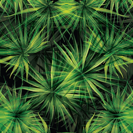 Palm Monstera Seamless Pattern. Green Black Tropical Summer Background. Beach Jungle Leaves for Swimwear Design. Lei Rapport. Retro Hawaiian Print. Tropic Textile Texture.  Botanic tiling.