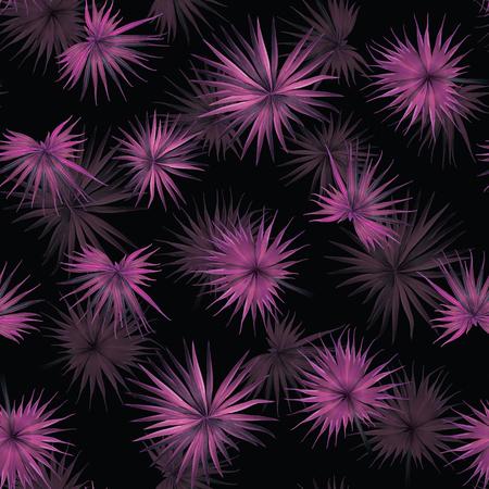 Palm Monstera Seamless Pattern. Black Pink Tropical Summer Background. Beach Jungle Leaves for Swimwear Design. Lei Rapport. Retro Hawaiian Print. Exotic Texture. Botanic tiling.