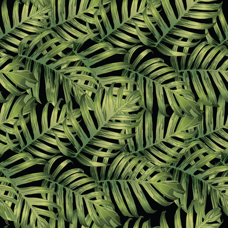 Palm Monstera Seamless Pattern. Green Black Tropical Summer Background. Beach Jungle Leaves for Swimwear Design. Lei Rapport. Retro Hawaiian Print. Exotic Texture. Botanic tiling.