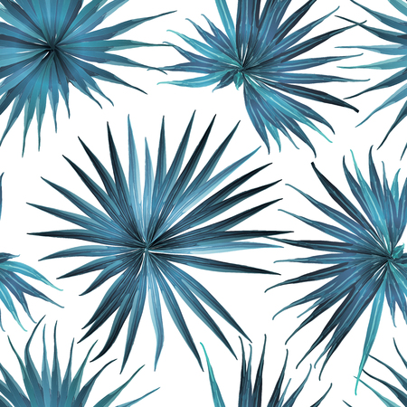 Palm Monstera Seamless Pattern. Blue White Tropical Summer Background. Beach Jungle Leaves for Swimwear Design. Lei Rapport. Vintage Hawaiian Print. Tropic Textile Texture.  Botanic tile.