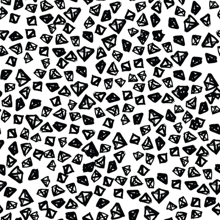 Triangle pattern. Black and white geometric seamless texture. Monochrome design print. Mimimal graphic repeating tile. Diamond background. Stylish abstract linear ornament.