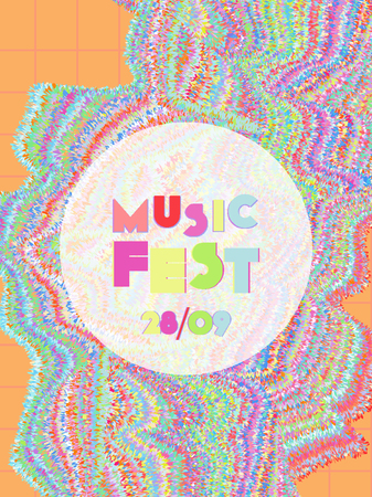 Music cover in blue, violet, pink, green colors. Rock concert flyer. Minimal line brochure. Gradient layout. Vibration audio cover. Promotion party ads. Vintage wave template.
