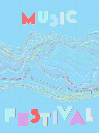 Music cover in blue, violet, pink, green colors. Rock concert flyer. Minimal tech brochure. Sound background. Abstract summer gradient. Media party ads. Vintage wave template.