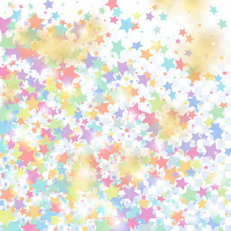 Multicolored star confetti isolated on transparent background.  Flying shiny sparkle shower. Holiday vector colorful confetti. Sparkle bright decoration backdrop. Christmas card template Illustration