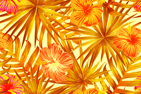 Orange yellow exotic pattern. Monstera and hibiscus flowers tropical bouquet.  Saturated large floral swimwear print. Horizontal california natural texture design. Hypernatural botanic design. Illustration