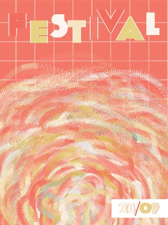 Muziekomslag in blauwe, cyaan, roze, oranje kleuren. Schoolconcert flyer. Minimale lijnbrochure. Verloop lay-out. Geometrische audio-omslag. Promotie partij advertenties. Vintage golf sjabloon.