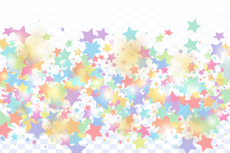 Green, red, yellow,pink star confetti on transparent background.  Flying shiny sparkle particles. Holiday vector colorful confetti. Sparkle bright decoration backdrop. Surprise card template