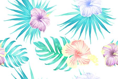 Cyan exotic pattern. Monstera leaves and hibiscus flowers in summer holiday print. Hawaiian t-shirt and swimwear tile. Horizontal california natural texture design. Hypernatural botanic design. Vektorové ilustrace
